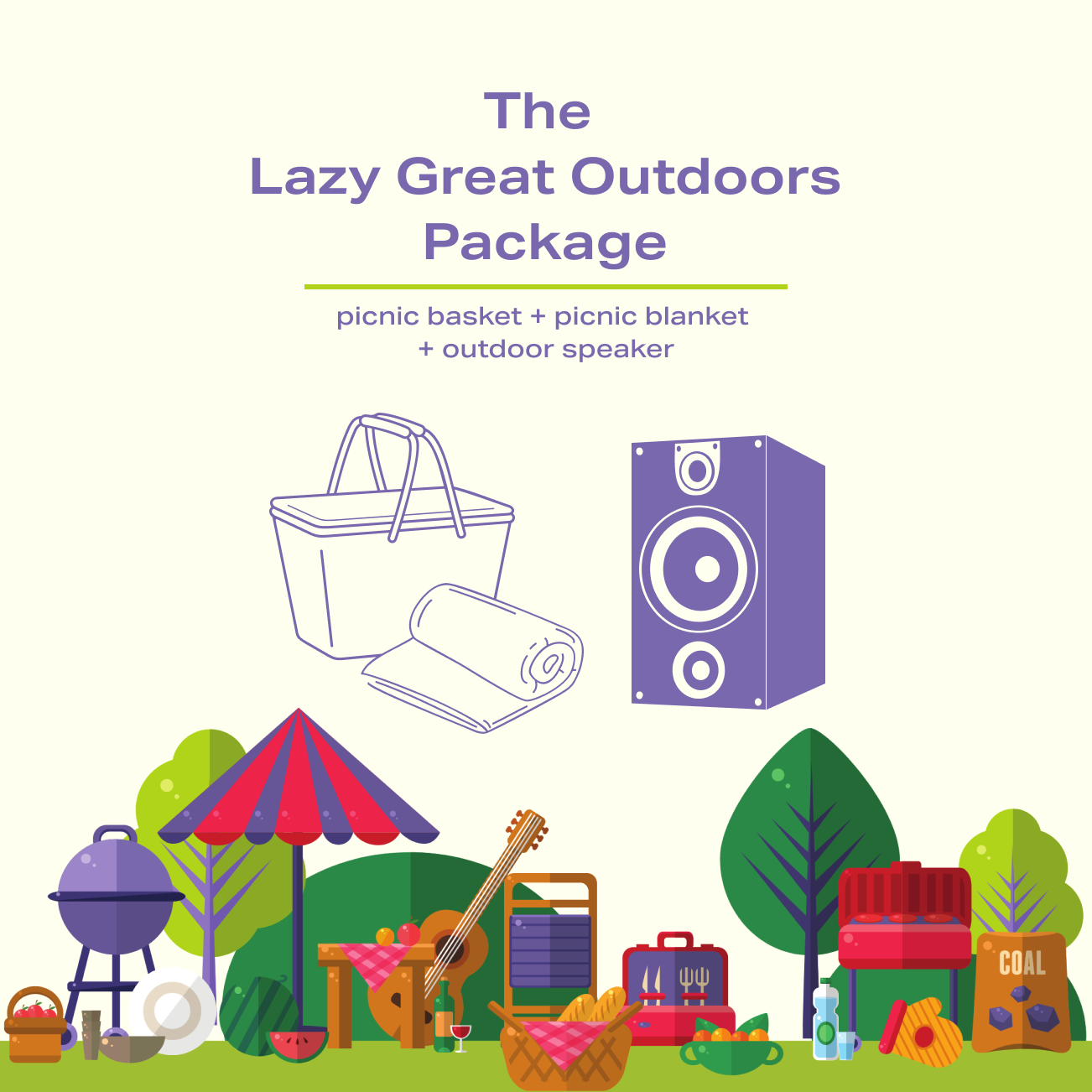 The Lazy Great Outdoors Package - picnic basket, picnic blanket, and outdoor speaker