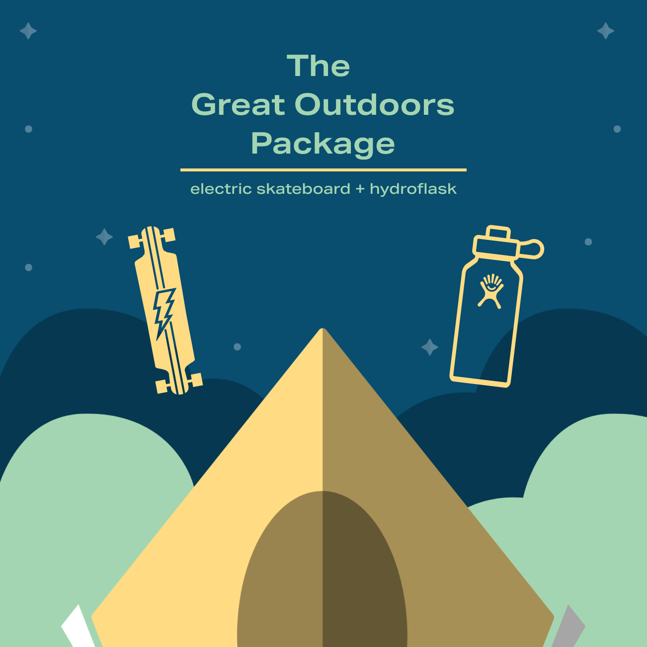 The Great Outdoors Package - electronic skateboard and hydroflask