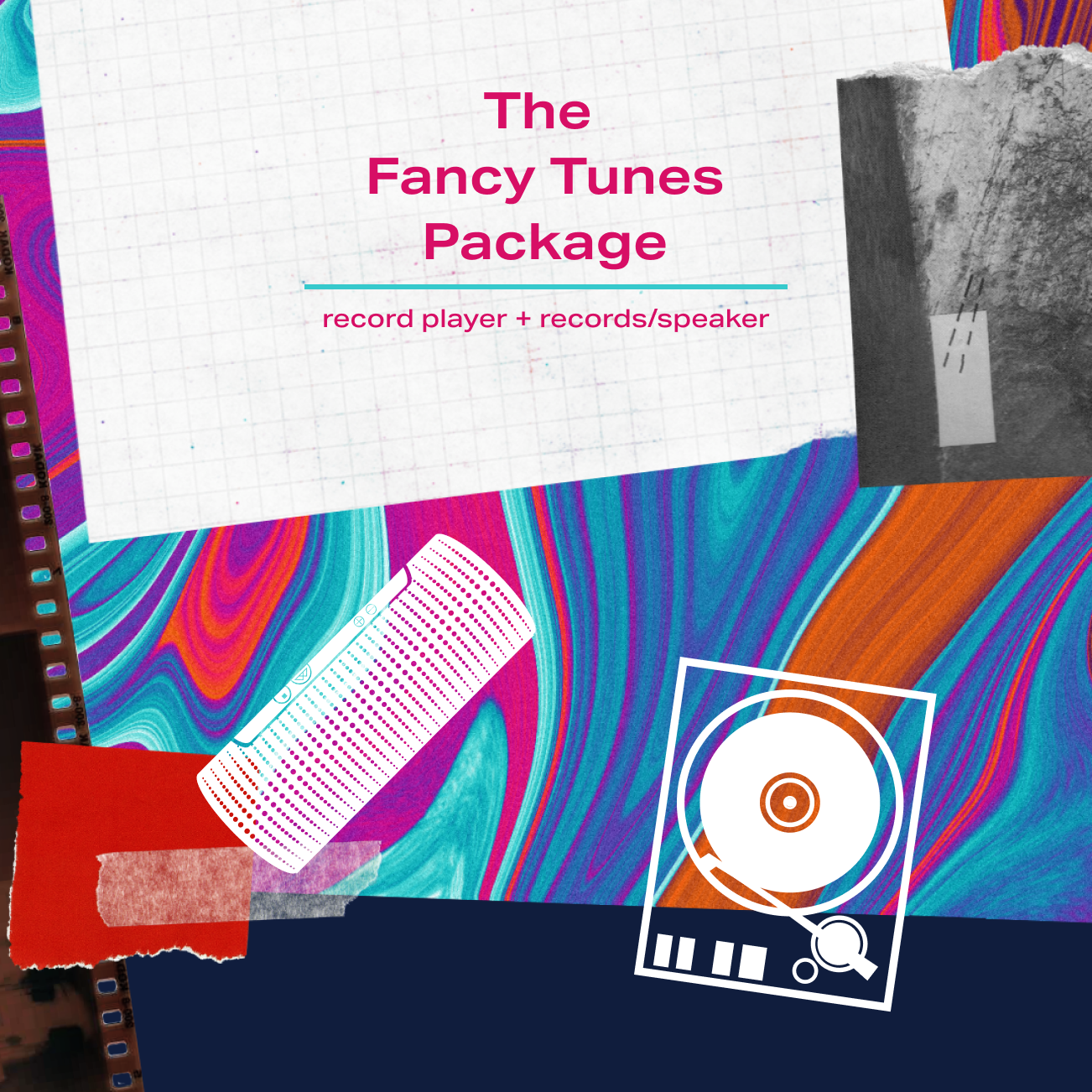 The Fancy Tunes Package - record player and records/speaker